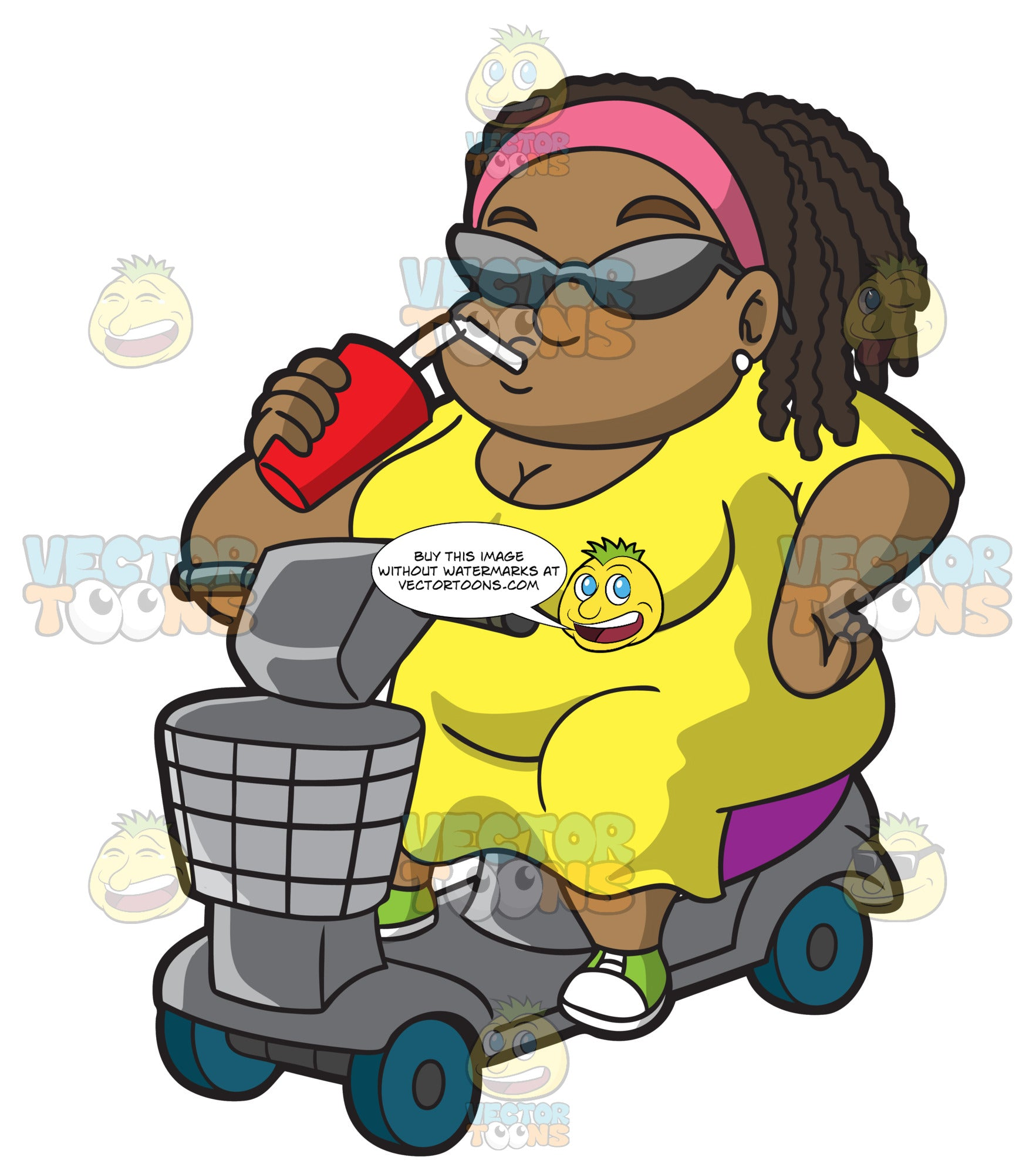 An Overweight Black Woman On A Scooter Drinking A Smoothie