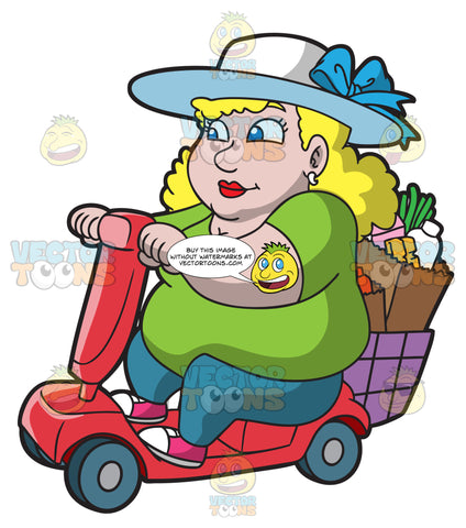 An Overweight Woman On A Scooter Heading Home From The Supermarket