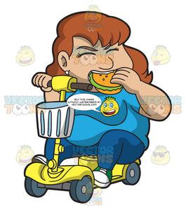 An Overweight Woman On A Scooter Munching A Burger