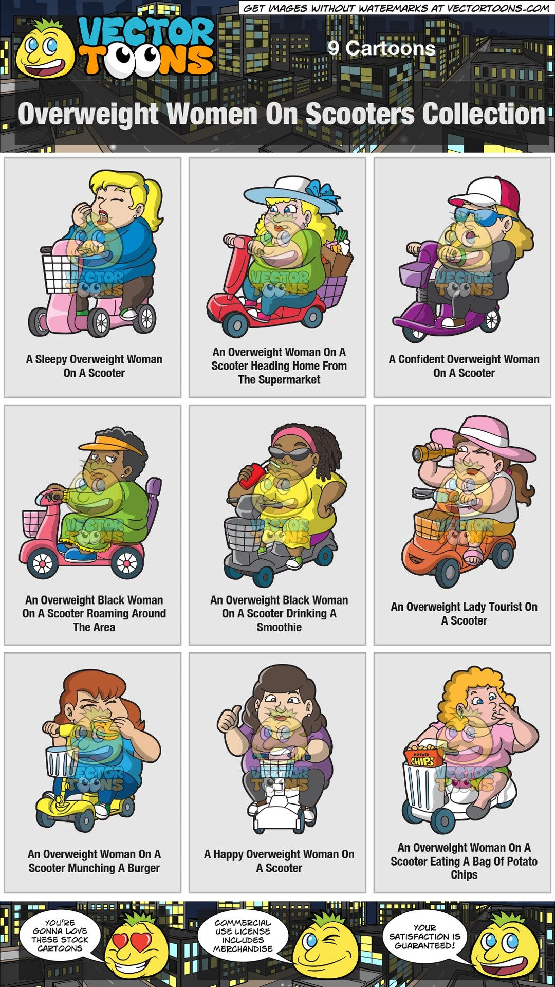Overweight Women On Scooters Collection
