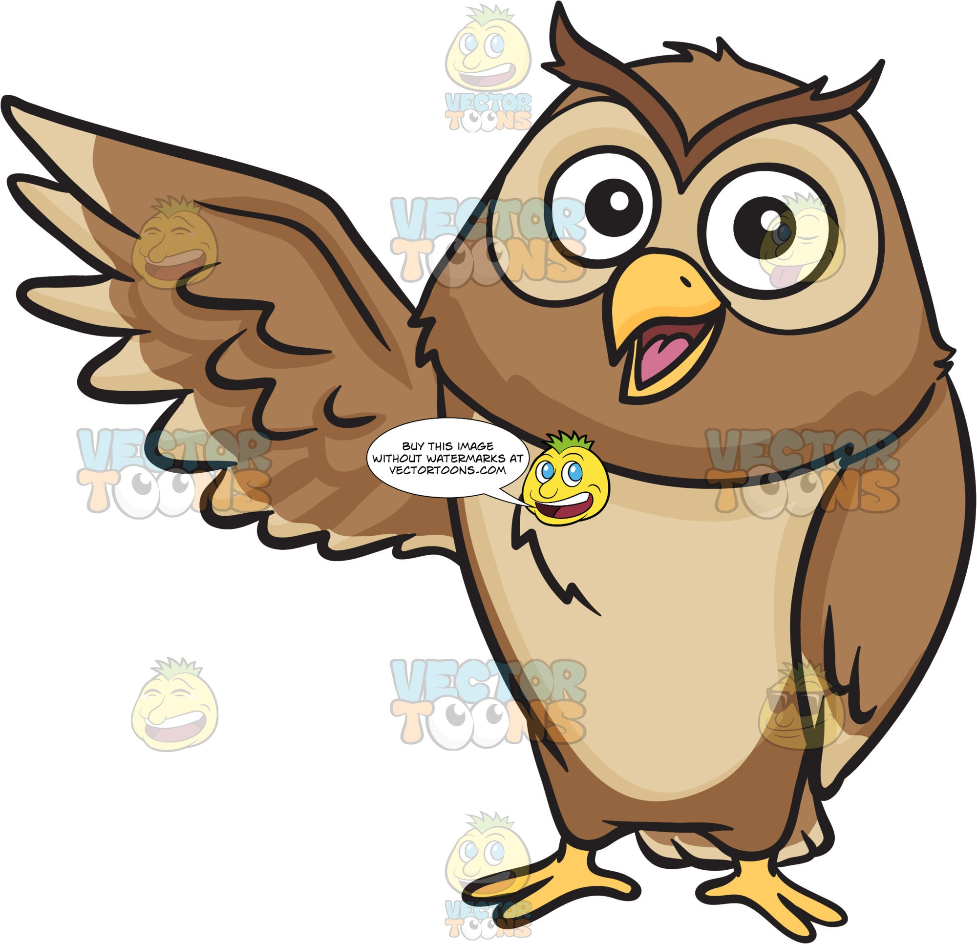 A happy owl raising its right wing – Clipart Cartoons By ...