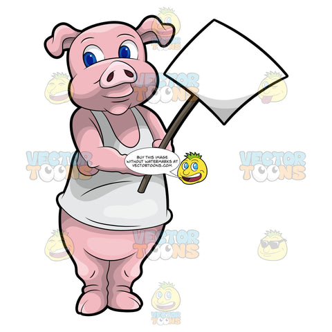 Paulie The Pig Holding A Signboard