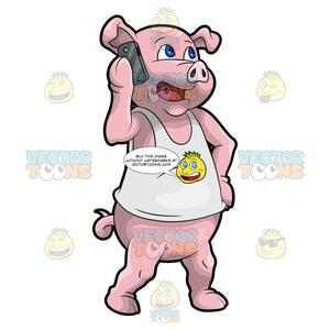 Paulie The Pig Using A Cellphone