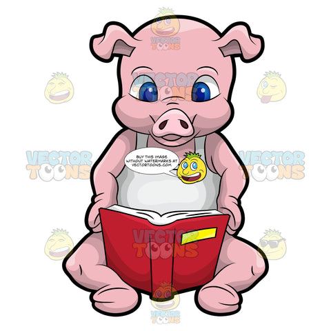 Paulie The Pig Reading A Book