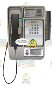 Payphone With Numbers Change Slot And A Credit Card Slot On The Side