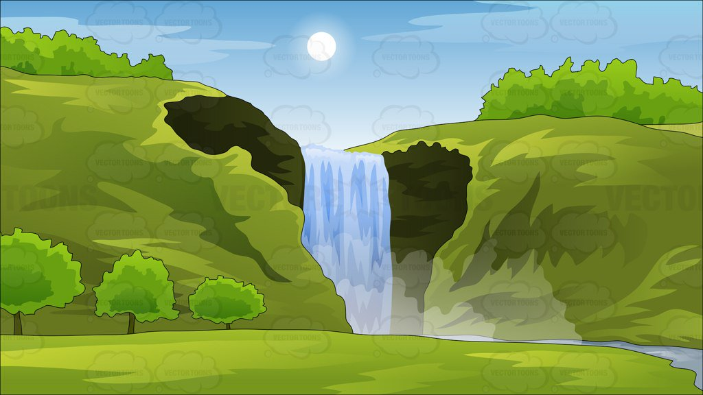 Peaceful Waterfall Background – Clipart Cartoons By ...
