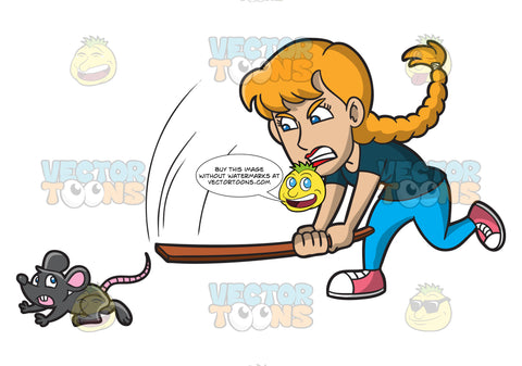 An Angry Woman Chasing A Rat