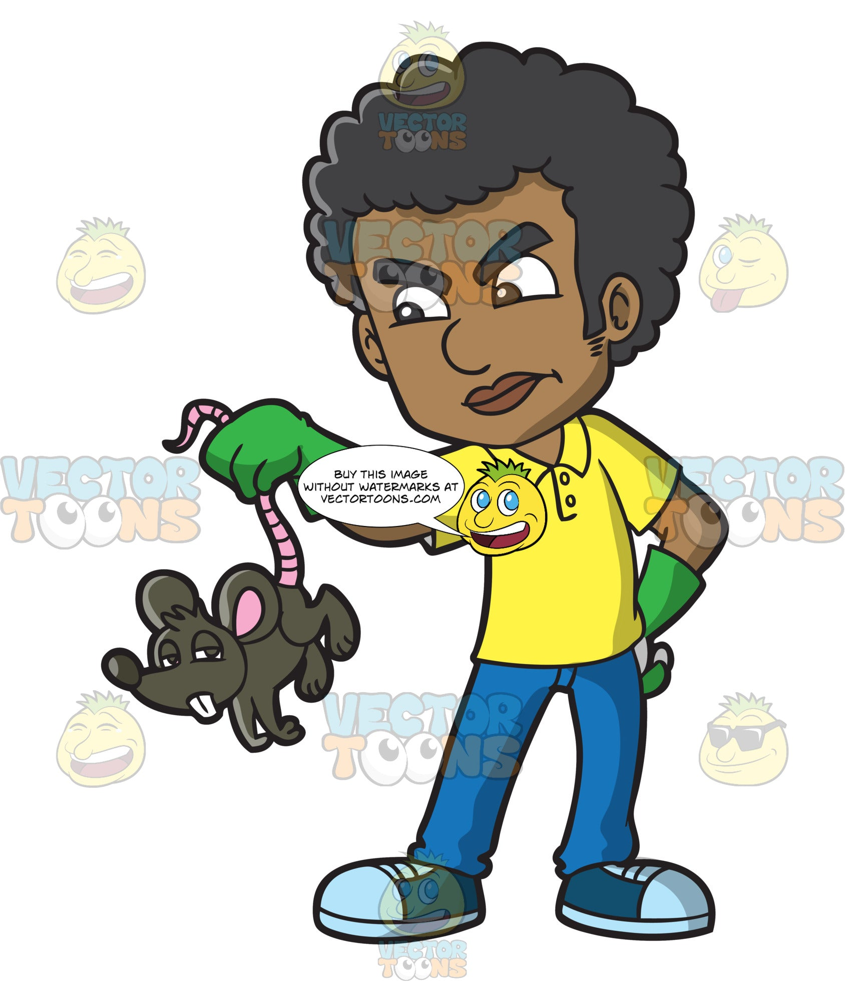 A Black Man Holding A Rat That He Caught