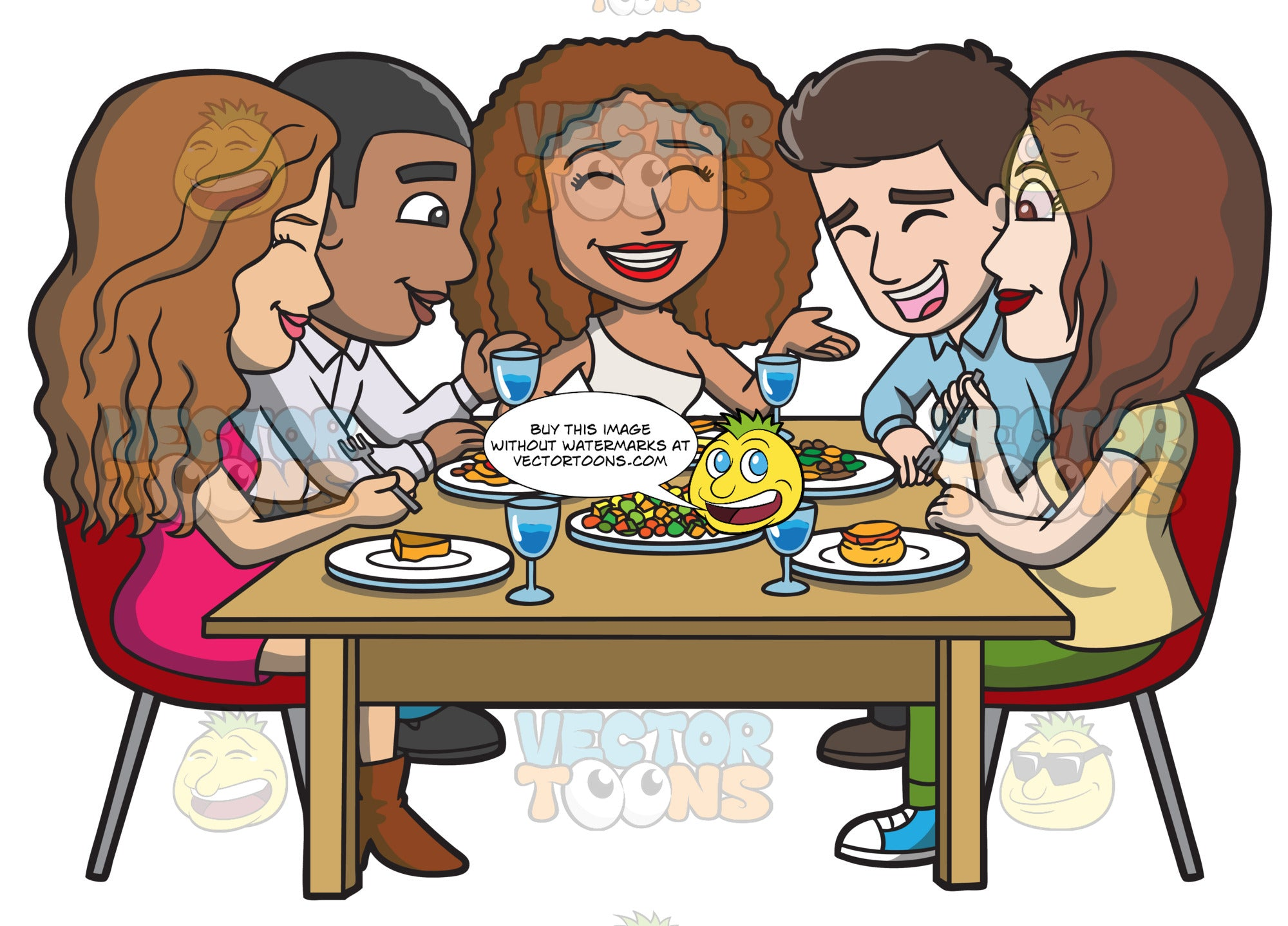 A Happy Set Of Diverse Friends Having Dinner