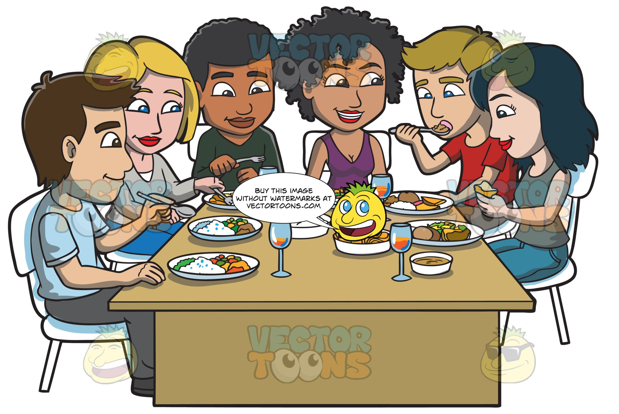 A Group Of Friends Eating Their Favorite Meals Clipart Cartoons By