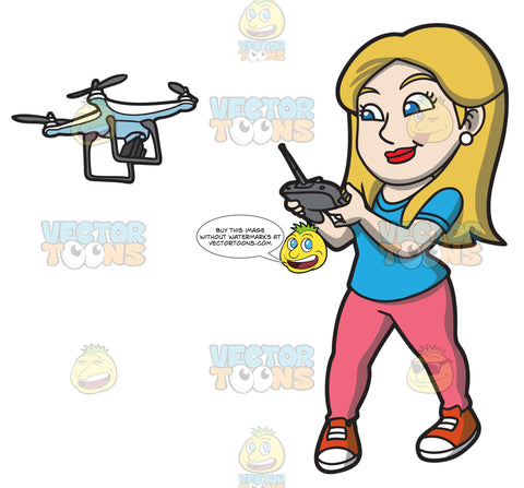 A Female Hobbyist Flying A Drone With A Remote