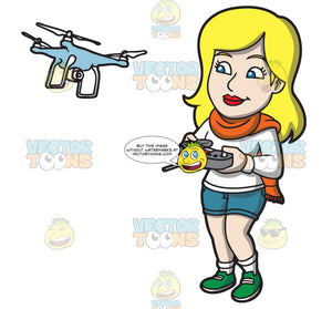 A Woman Using A Remote To Fly A Drone