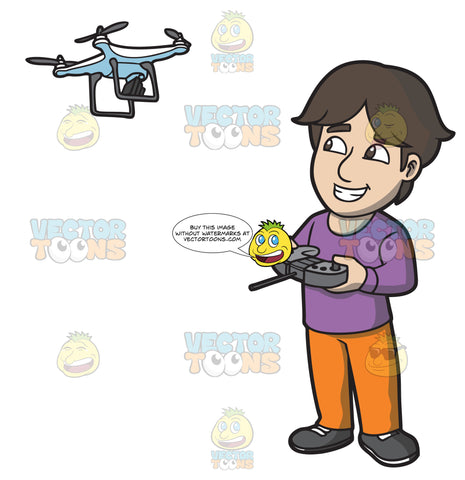 A Happy Guy Flying A Drone Via Remote