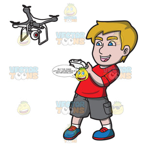 An Excited Young Man Controlling A Flying Drone