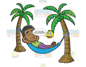 A Black Guy Relaxing In A Hammock