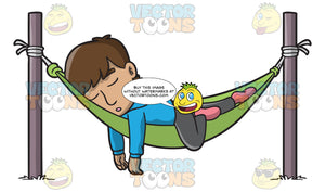 A Man Sleeping Soundly In A Hammock