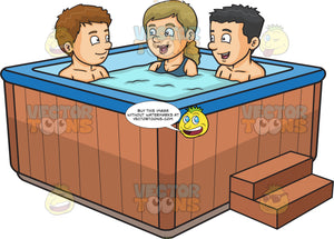 Two Guys And A Girl Chatting While Dipping In The Hot Tub