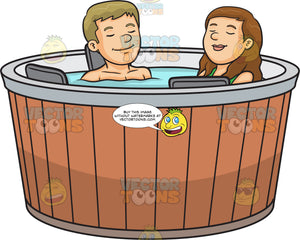 A Couple Enjoying A Cozy Hot Tub Therapy