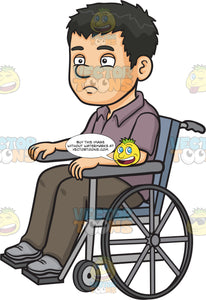 A Disoriented Man In A Wheelchair