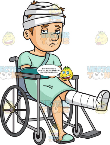 A Sad Injured Man In A Wheelchair