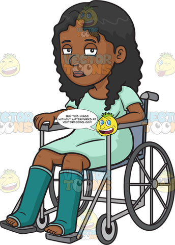 A Sad Injured Black Woman In A Wheelchair