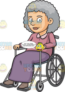 A Happy Grandmother Sitting In A Wheelchair