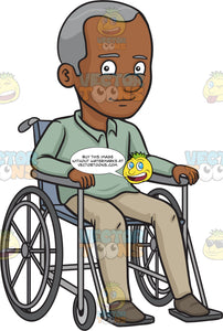 A Black Happy Grandfather Sitting In A Wheelchair