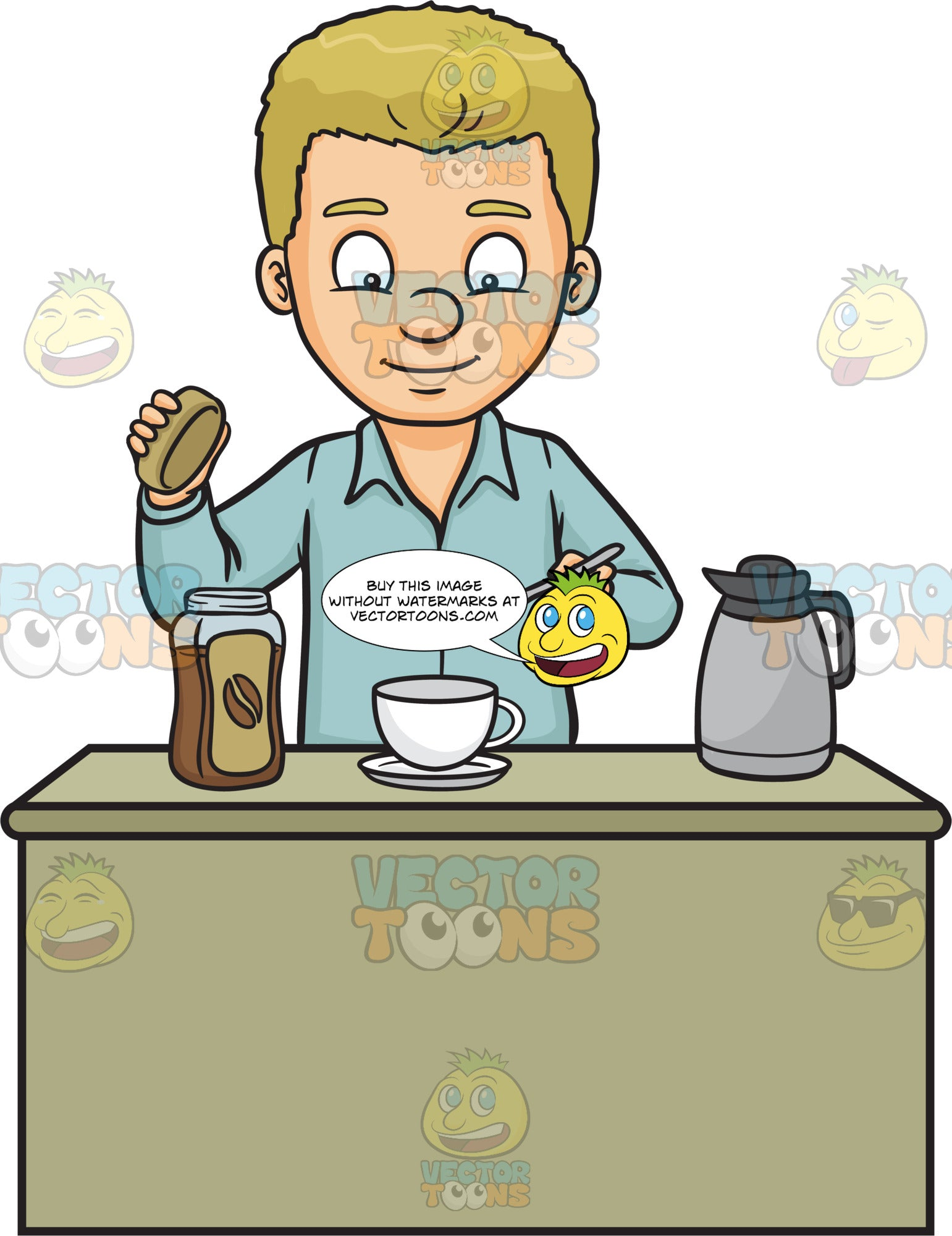 A Man Making A Cup Of Coffee Clipart Cartoons By Vectortoons