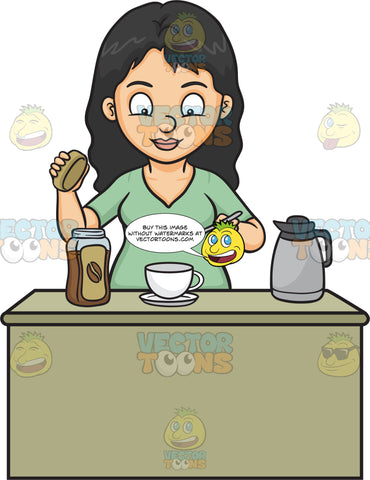 A Woman Making A Cup Of Coffee