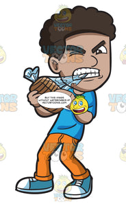A Black Man Ripping Open A Package Of Bread With His Teeth