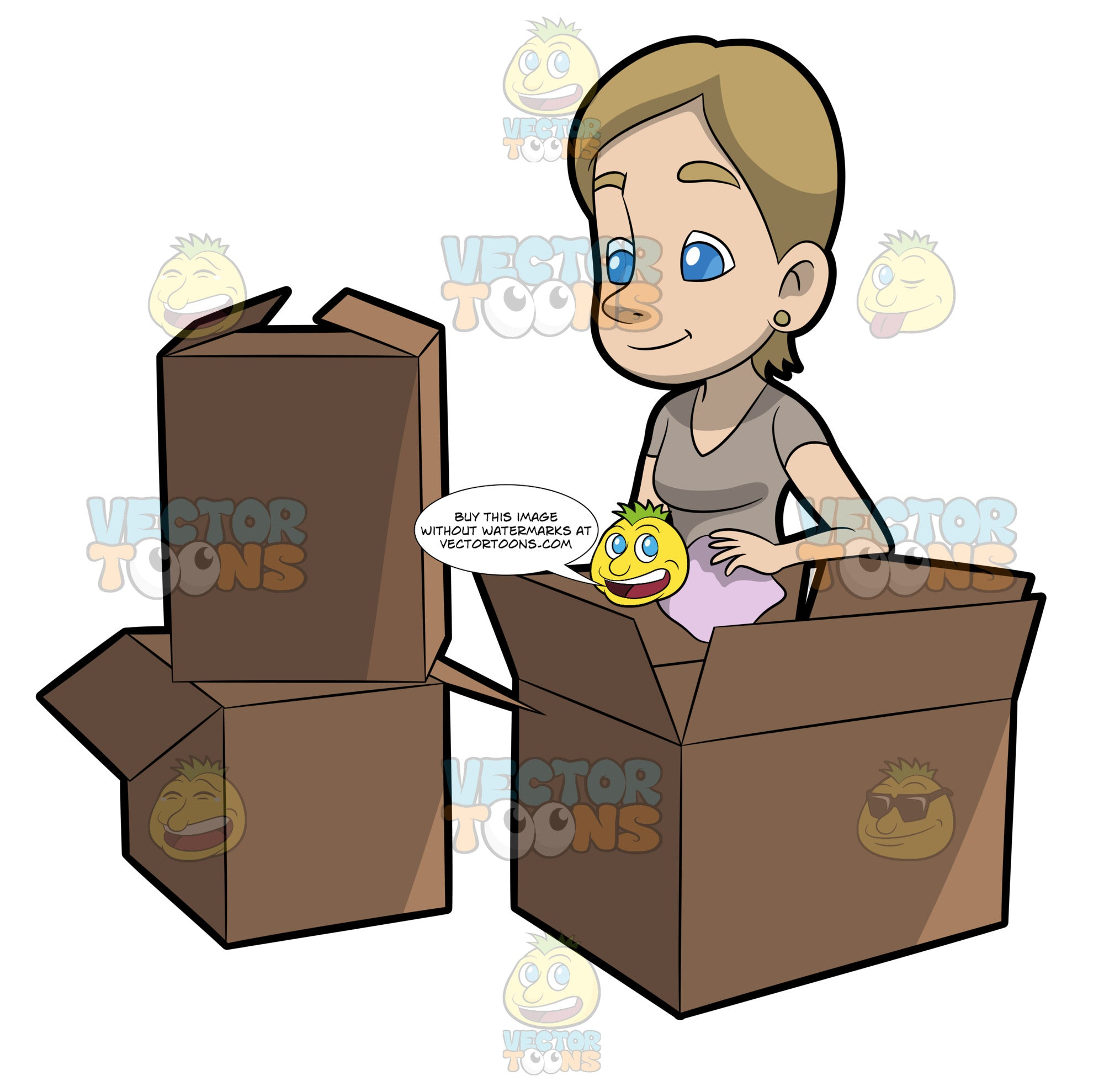 A Woman Packing Moving Boxes