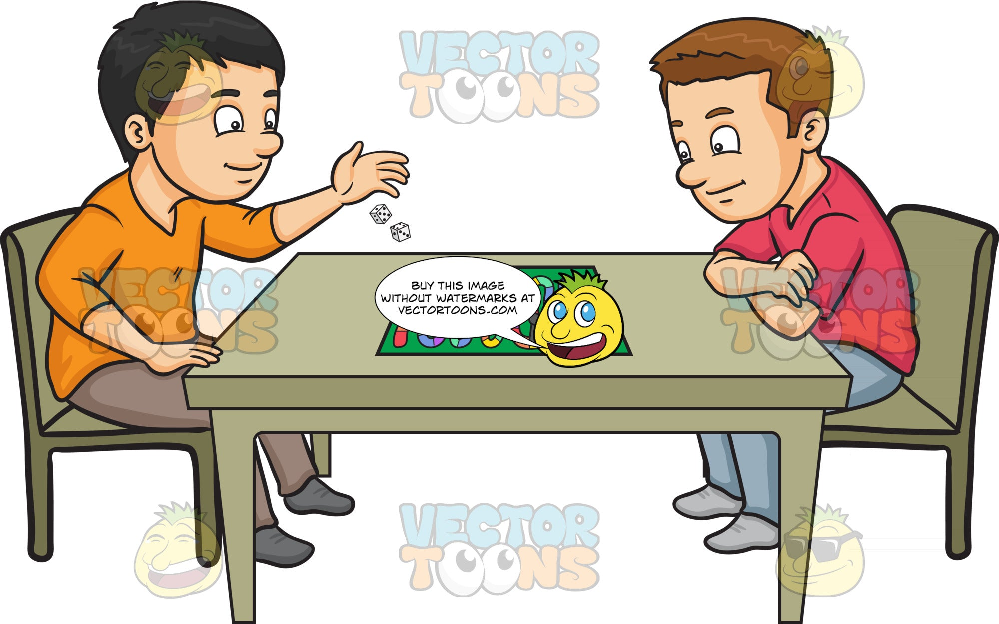 Two Friends Playing A Board Game – Clipart Cartoons By ...