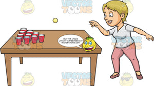 A Woman Playing Beer Pong