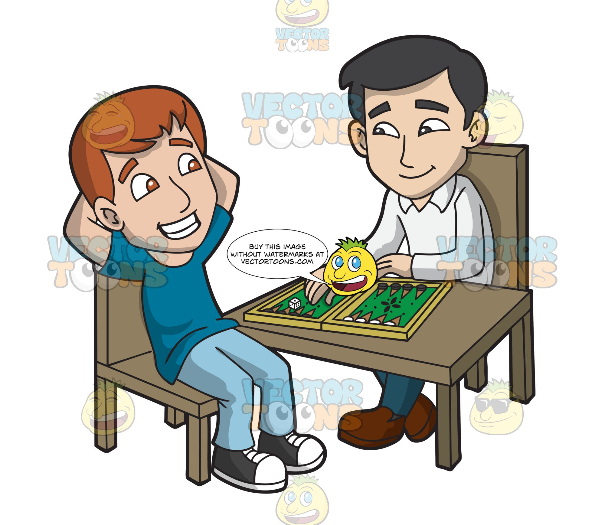 Two Guys Playing Backgammon