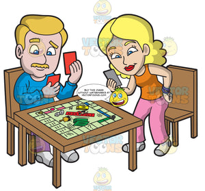 A Husband And Wife Playing Monopoly