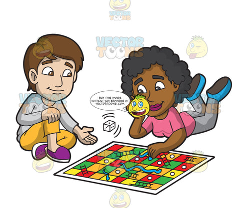 Two Friends Playing Snakes And Ladders
