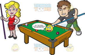 A Dating Couple Playing Pool
