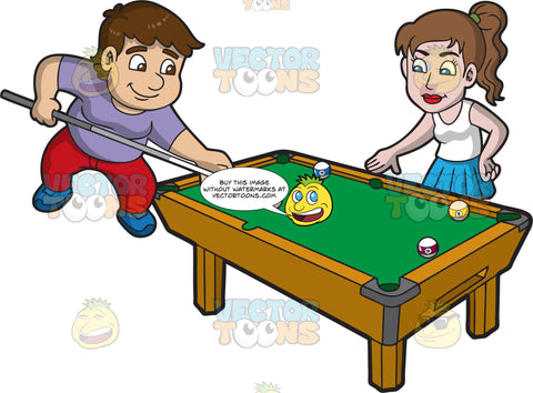 Happy Siblings Playing Billiards