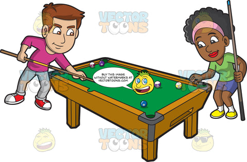 Two Friends Playing Billiards