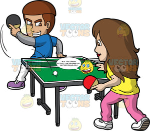 A Gritty Man Playing Table Tennis With His Wife. A man with reddish brown hair, wearing a blue shirt over a gray sweatshirt, white pants, purple shoes, grits his teeth while playing table tennis with a woman with brown hair, wearing a yellow shirt, pink pants, white shoes, using a red and black paddles, a small white ball and a green table with short net