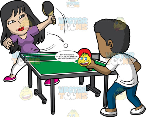 A Black Man And Asian Woman Playing Table Tennis. A woman with long black hair, wearing a purple shirt, white pants, pink shoes, hits a white ping pong ball with her black paddle, to her black male opponent across the green pink pong table with a net, who is wearing a white shirt, dark teal pants, white shoes, and holding a red paddle