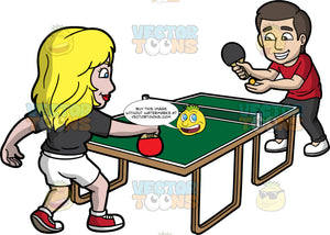 A Husband And Wife Playing Table Tennis. A woman with blonde hair, wearing a black shirt, white shorts, red with white sneakers, smiles while holding a red paddle upside down to play table tennis with a guy with brown hair, wearing a red shirt, black pants, white shoes on the other end of the green ping pong table, who is also serving the yellow ball using a black paddle