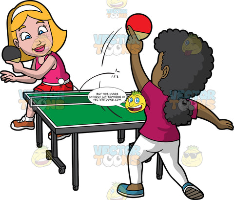 Two Female Friends Having Fun While Playing Table Tennis. A woman with blonde hair, wearing a white headband, pink tank top, red shorts, white belts, socks, tan with white colored shoes, smiles while returning the white ping pong ball using a black paddle, to her black opponent with curly hair, who is wearing a dark fuchsia shirt, white pants, teal shoes, and holding a red paddle