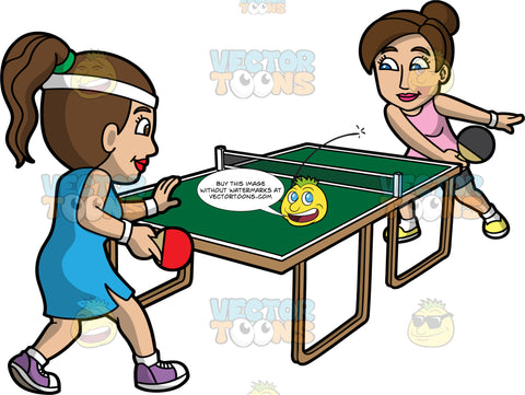 Two Pretty Women Playing Table Tennis. A woman with brown hair tied up in a bun, wearing a pink tank top, shorts, white socks, yellow shoes, smiles while hitting the white ping pong ball using a black paddle, to the other side of the table to be hit by her opponent with brown hair in a ponytail, wearing a white bandana, blue sleeveless dress, white socks, purple with white shoes and holding a red paddle