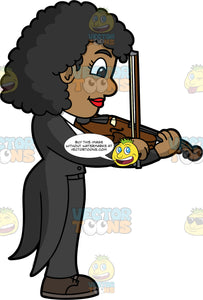 A Concert Violinist Playing Her Violin. A black woman wearing black dress pants, a black jacket with tails, a white shirt, and black shoes, playing her violin during a concert performance