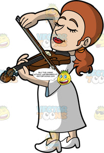 A Woman Playing Violin With Passion. A woman with reddish brown hair tied back in a low pony tail, wearing a long white dress, and white high heel shoes, closes her eyes as she passionately plays the violin