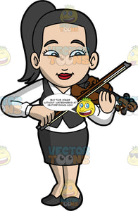 An Asian Woman Playing The Violin. An Asian woman with black hair tied up in a pony tail, wearing a black skirt, a black vest over a white shirt, and black shoes, smiles as she plays her violin