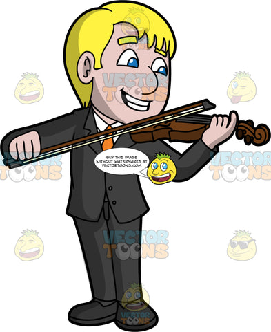 A Happy Man Playing Violin. A man with blonde hair and blue eyes, wearing a black suit, white shirt, orange tie, and black shoes, smiles as he confidently plays the violin