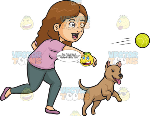 A Woman Throwing A Ball For Her Dog