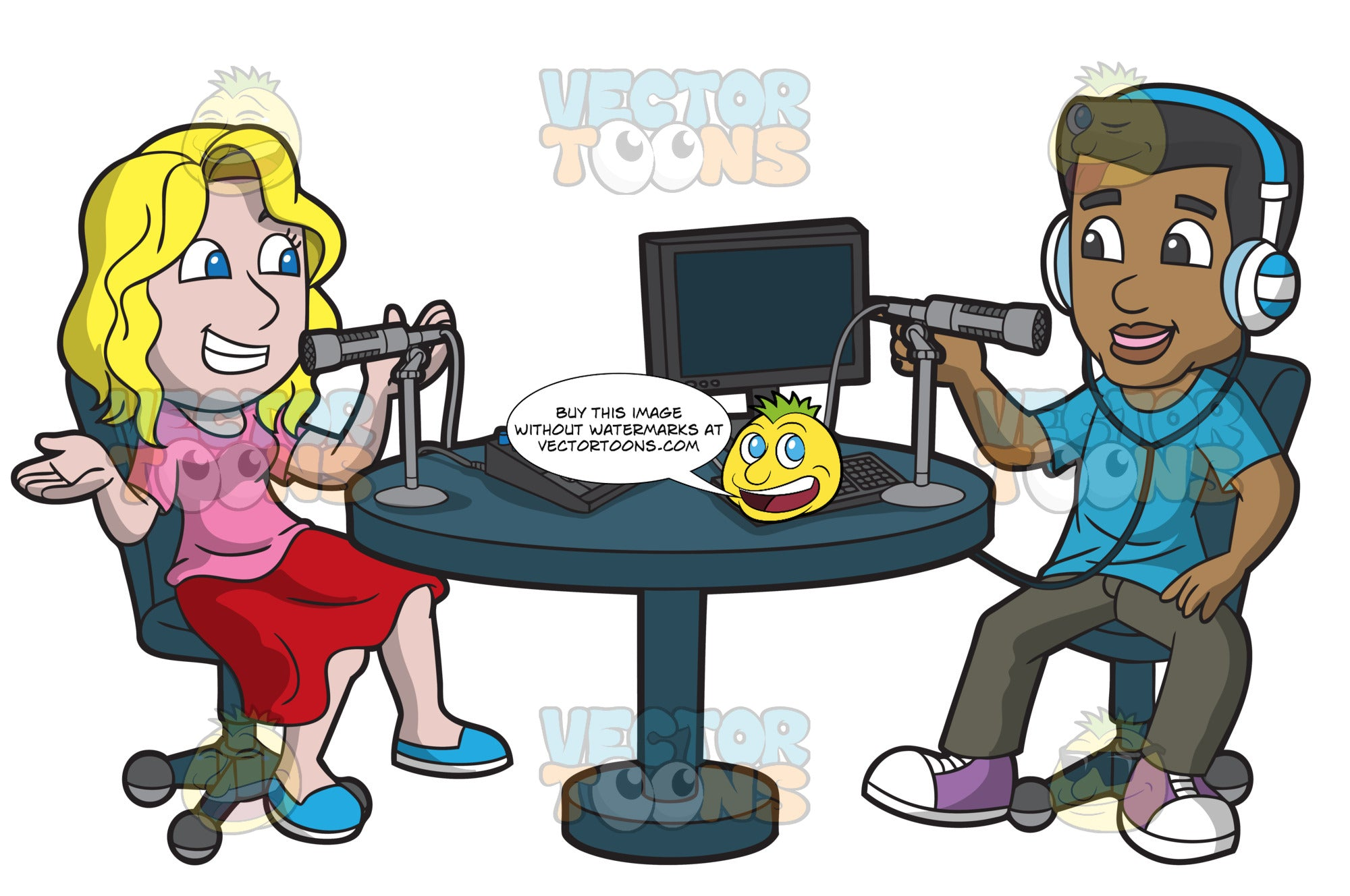 A Man And Woman Recording A Podcast